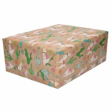 Inpakpapier/cadeaupapier bruin alpaca goedkope rol