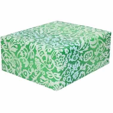 Inpakpapier/cadeaupapier groen bloemengoedkope rol