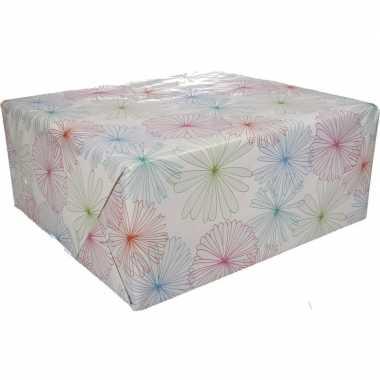 Inpakpapier wit bloemen goedkope rol type