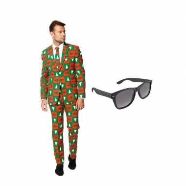 Kerst goedkope heren kostuum maat (xxl) gratis zonnebril