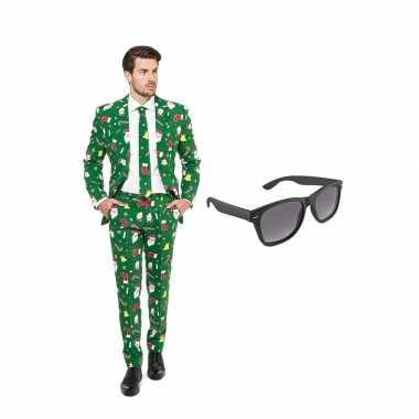Kerst goedkope heren pak maat (m) gratis zonnebril