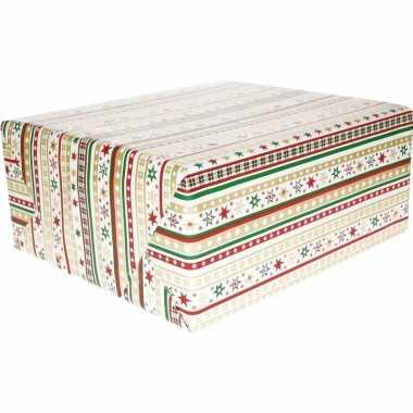Kerst inpakpapier wit strepen/dessin goedkope ro