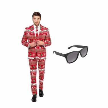 Kerstboom goedkope heren kostuum maat (l) gratis zonnebril