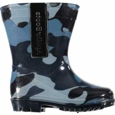 Kinder jongens regenlaarzen camouflage goedkope blauw maat