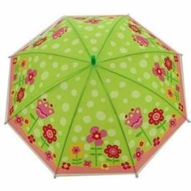 Kinderparaplu bloemen goedkope groen/roze