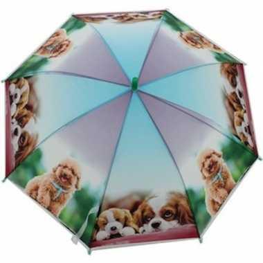Kinderparaplu honden goedkope paars/blauw