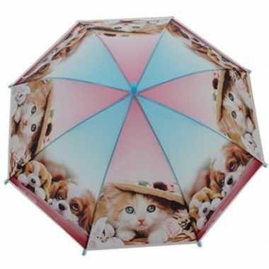 Kinderparaplu katten/poezen/honden goedkope roze/blauw
