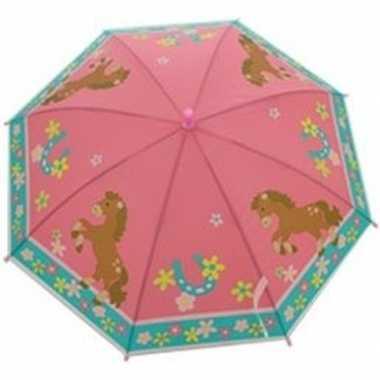 Kinderparaplu paarden goedkope roze/blauw