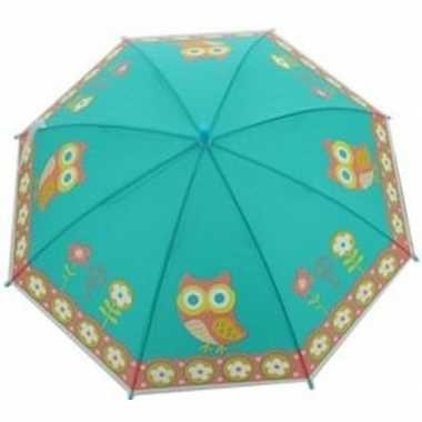 Kinderparaplu uilen goedkope blauw/multi