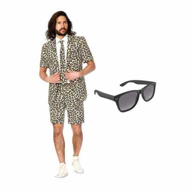 Luipaard goedkope zomer kostuum maat (xl) gratis zonnebril