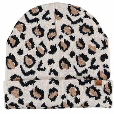Luxe gebreide kindermuts luipaard goedkope beige