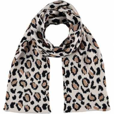 Luxe gebreide kindersjaal luipaard goedkope beige