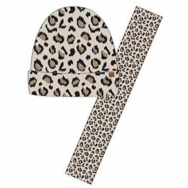 Luxe kinder winterset sjaal + muts luipaard goedkope beige