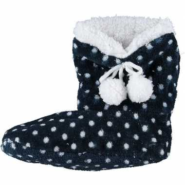 Meisjes hoge sloffen/pantoffels stippengoedkope blauw maat