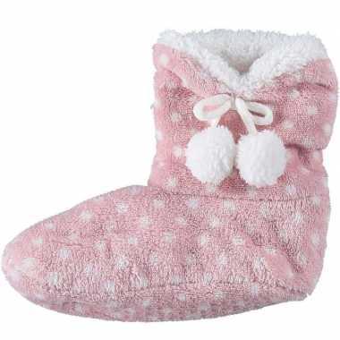 Meisjes hoge sloffen/pantoffels stippengoedkope roze mt