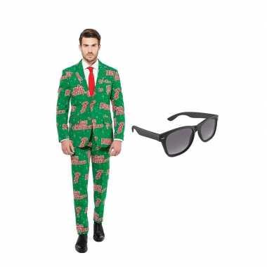 Merry christmas goedkope heren pak maat (xl) gratis zonnebri