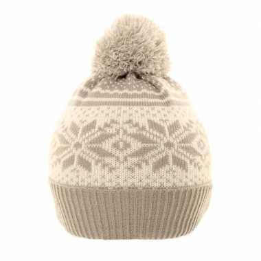 Nordic goedkope winter muts grijs/wit pompon kinderen