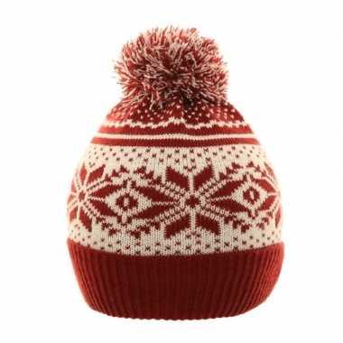 Nordic goedkope winter muts rood/wit pompon kinderen