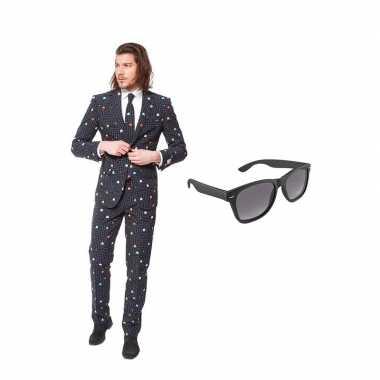 Pac man goedkope heren kostuum maat (xl) gratis zonnebril
