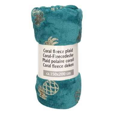 Petrol groen ananas goedkope fleece deken