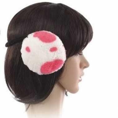 Pluche oorwarmers roze koeien goedkope dames