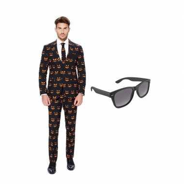 Pompoen goedkope heren kostuum maat (s) gratis zonnebril