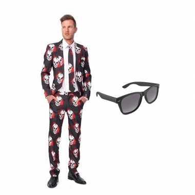 Schedel goedkope heren kostuum maat (s) gratis zonnebril