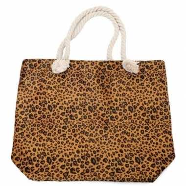 Shopper/boodschappen tas luipaard/panter goedkope bruin
