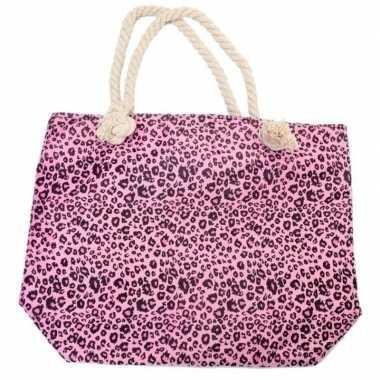 Shopper/boodschappen tas luipaard/panter goedkope roze