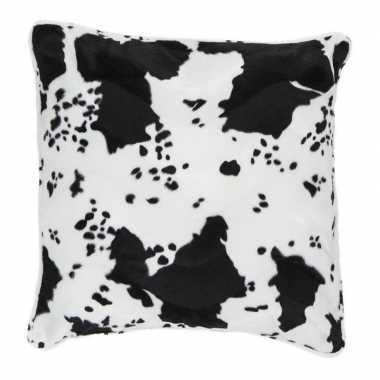 Sierkussen fluweel koeiengoedkope zwart/wit