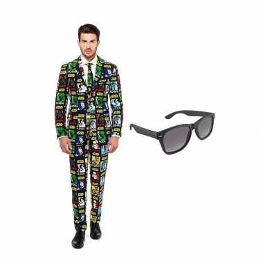 Star wars goedkope heren kostuum maat (s) gratis zonnebril