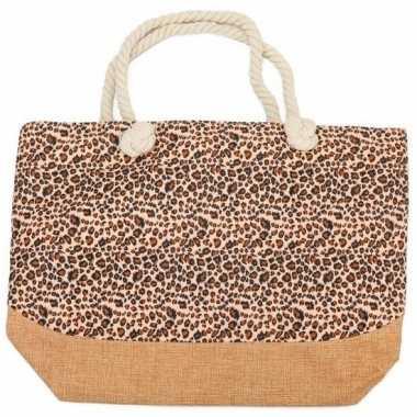 Strandtas luipaard/panter goedkope bruin/roze