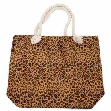 Strandtas luipaard/panter goedkope bruin