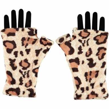 Vingerloze handschoenen luipaard goedkope volwassenen