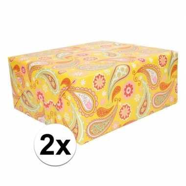 X cadeaupapier geel paisley goedkope rol