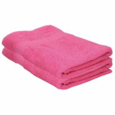 X goedkope badhanddoeken fuchsia roze grams