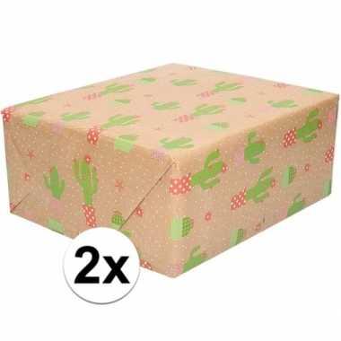 X inpakpapier/cadeaupapier bruin cactus goedkope rol