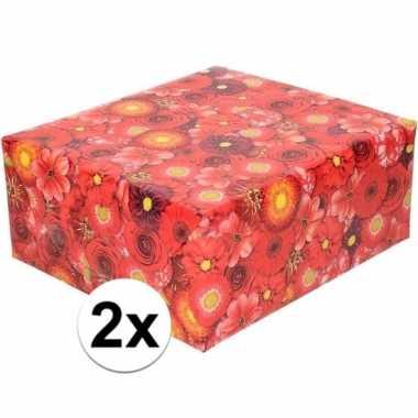 X inpakpapier/cadeaupapier rood bloemen goedkope rol