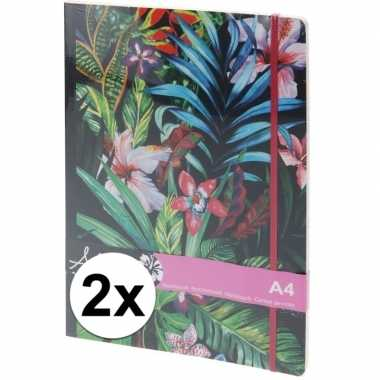X notitieboekjes/schriften tropische goedkope elastiek a