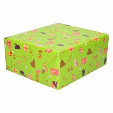X sinterklaas inpakpapier/cadeaupapier goedkope groen