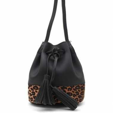 Zwart/bruin luipaardgoedkope schoudertasje/bucket bag