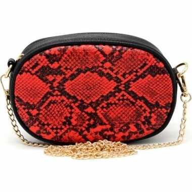 Zwart/rood slangengoedkope heuptasje/schoudertasje