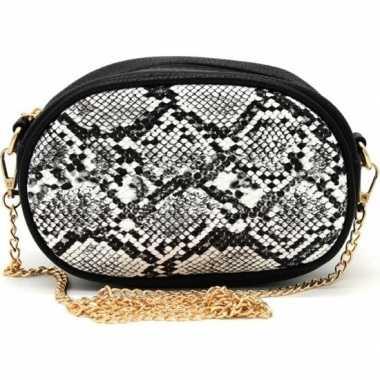 Zwart/wit slangengoedkope heuptasje/schoudertasje