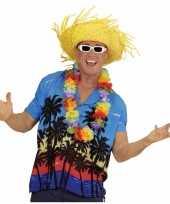 Blauwe hawaii verkleed blouse palmboomgoedkope heren