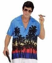 Blauwe maffiabaas verkleed blouse palmboomgoedkope heren