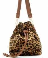 Bruin zwart luipaardgoedkope schoudertasje bucket bag