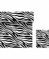 Dieren thema tafeldecoratie set zebra goedkope tafelloper servetten