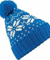 Gebreide blauwe nordic goedkope muts pompon meisjes
