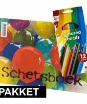 Goedkope a schetsboek inclusief kleurpotloden