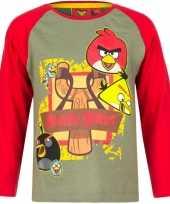 Goedkope angry birds t shirt groen rood jongens